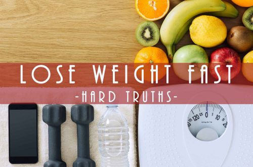 fruits, scale, dumbbells, water, and towel